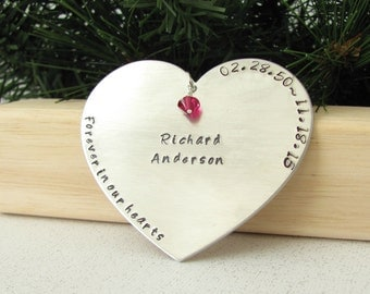 Memorial Ornament - Forever in Our Hearts - Dates & Name - Heart