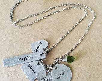 Distressed hammered handstamped necklace / Mother's Day gift / Up to five  names / multiple name jewelry / grandkids names / tag necklace