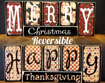 Reversible Holiday Shelf Sitters Wood Blocks Merry Christmas Happy Thanksgiving