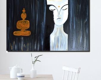 Large abstract painting,Budda painting mix media on canvas,Large wall art,fine art,handmade painting,spiritual,buddhist,Buddha in handmade