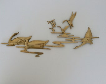 Brass Wall Sculpture-Brass Birds Wall Hanging