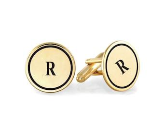 Initial 18k Yellow Gold Plated 925 Sterling Silver Cufflinks, Personalized Cufflinks, Custom Engraved Wedding Cufflinks, Groom Cufflinks,