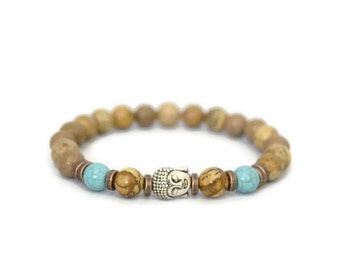 Picture Jasper Bracelet - Mens Gemstone Bracelet - Mens Stretch Bracelet - Buddha head Bead bracelet - Mens yoga bracelet - healing bracelet
