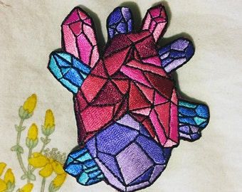 Geo Heart Embroidered Patch