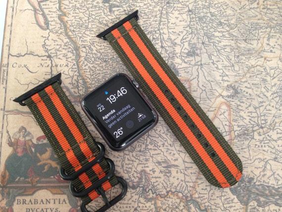 Apple watch original, series 1, series 2 band: Zulu strap 2-piece, black rings (army green/orange) 42mm, Free Shipping Worldwide!