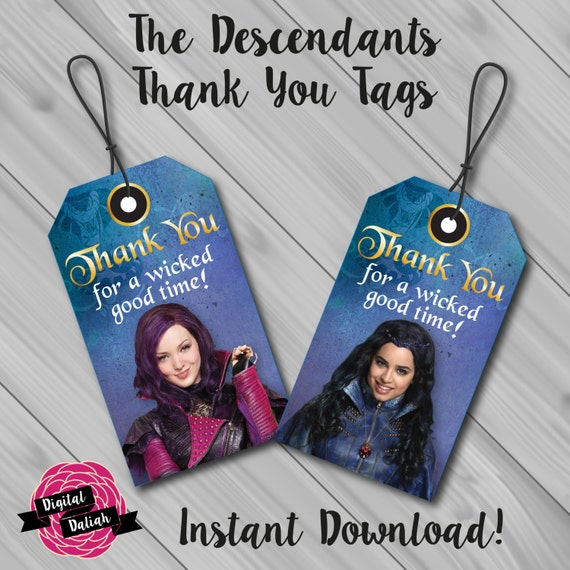 The Descendants Thank You/Favour Tags. Instant by