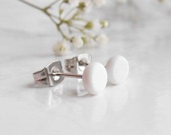 White Studs, Stud Earrings For Men, White Stud Earrings, Tiny Stud Earrings, Ear Studs, Monochrome Jewelry,
