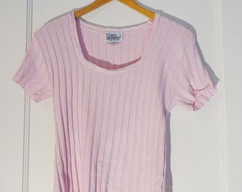 Pale pink ribbed knit top