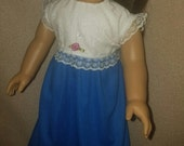 American Handcrafted 18 inch girl Doll Clothes by Dixie ! Soft Blue Long Dress