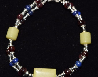 Unique Double Strand Silver Bracelet with Jade, Lapis, and Deep Red Garnet beads.