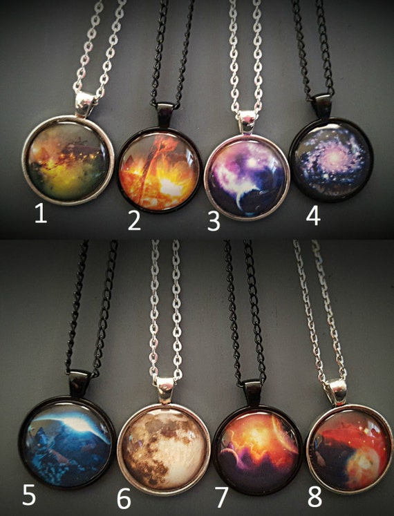 Intergalactic - Space Planets Nebula Galaxy Sun Moon Stars Necklace Perfect Gift