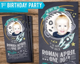 Custom 1st Birthday Invite, Someone Is Turning One, First Birthday, 1st Birthday, Invite with Photo, Printable Invite, Love You to The Moon
