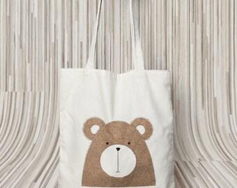 Bear tote - cotton tote Bag - 100% Cotton