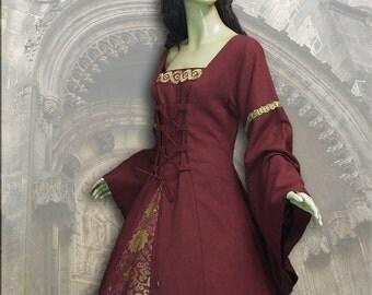 Medieval dress medieval dress linen Jacquard LARP