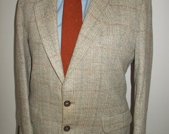 "Vintage mens tweed jacket blazer by Brook Tavener Tailoring made in England pure new wool tweed  40"" chest Medium"