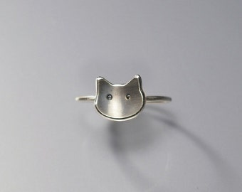 Ring, Cat Face, Cat Face Ring, Oxidized