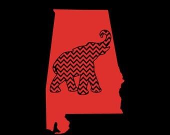 Alabama Car Decal/ Bama/Chevron/ Elephant Decal/ Various Colors/state decal/
