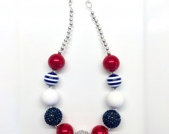 Red White and Blue Navy Fourth of July Birthday Chunky Bubblegum Beaded Toddler Girls Necklace