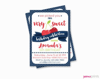 Sweet Cherry Printable Party Invitation - Red or Pink Cherry Birthday Invitation - Custom Sweet Cherry Party Invitation, Cherry Baby Shower