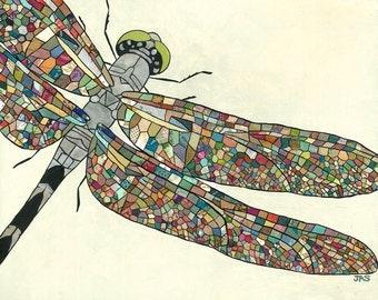 Dragonfly - Paper Mosaic - Mixed Media Art Print