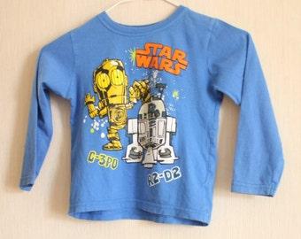 Vintage Kids Star Wars T-shirt baby blue long sleeves T shirt 4-5 years Lucasfilm shirt