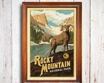 Rocky Mountain Poster, Rocky Mountain National Park print, Colorado Poster, Mountain Poster, national park quest poster