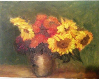 Bouquet in Grey Pot