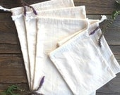 Set of 5 - Reusable Natural Unbleached Cotton Muslin Drawstring Produce/Bulk Bags
