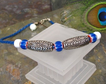SALE - Cobalt Blue Recycled Glass ~ UNISEX Beach Necklace ~ Braided Leather - adjustable 16-18""