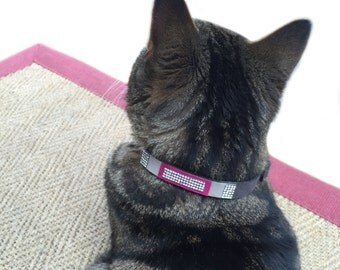 Cat Collar - Grey, Taupe and Magenta Suede