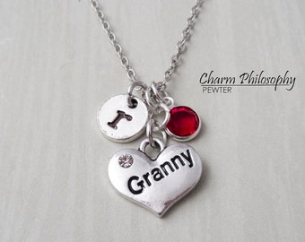 Granny Necklace - Antique Silver Jewelry - Monogram Personalized Initial and Birthstone - Granny Gift