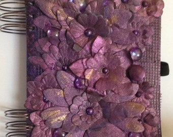 Purple Flowers Altered Book Mixed Media Journal