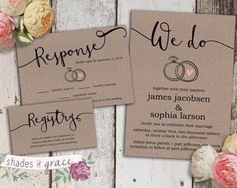 Rustic Wedding Invitation Instant Download, Printable Wedding Invitations, Kraft Paper Invitation, Simple DIY Invites, Table Numbers 1-24+
