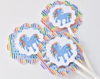 12 Blue Unicorn Cupcake Toppers, Boy Unicorn Birthday Party, Unicorn Baby Shower Cake Toppers, Unicorn Birthday Boy