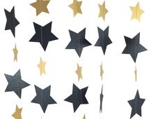 Black and Gold Star Garland - Black and Gold Decor, Black and Gold Party Decor, Black Garland, Black Party Decorations - GS031MtgdOx