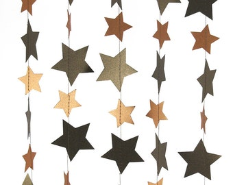 Metallic Bronze and Copper Star Garland - Handmade Garland, Bronze Garland, Wedding Garland, Birthday Garland - GS003BzCp