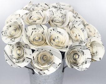 Sheet Music Flowers- 18 Music Paper Flowers, Music Lover Gift, Music Teacher Gift, Music Teacher Retirement Gift, Guitar Teacher Gift