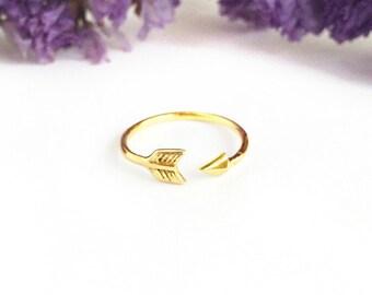 Arrow ring - Gold Arrow Ring - Arrow Midi Ring - Adjustable Ring - First Knuckle Ring  - Arrow Knuckle Ring