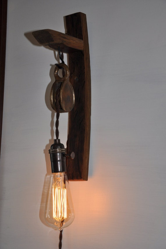 Pulley Light Fixture >> Wine Barrel Stave Pulley Sconce Light Fixture