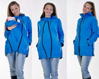 Babywearing jacket, 3in1 Softshelljacket, Weather jacket, Blue