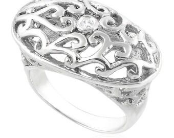 Fashion 14K White Gold White Cubic Zirconia Vintage Jewelry Ring
