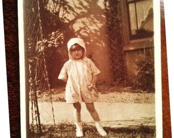 Original Vintage Sepia Postcard Photograph from the 30s- Lovely Little Girl in the Garden- Cool little girl in white dress snapshot