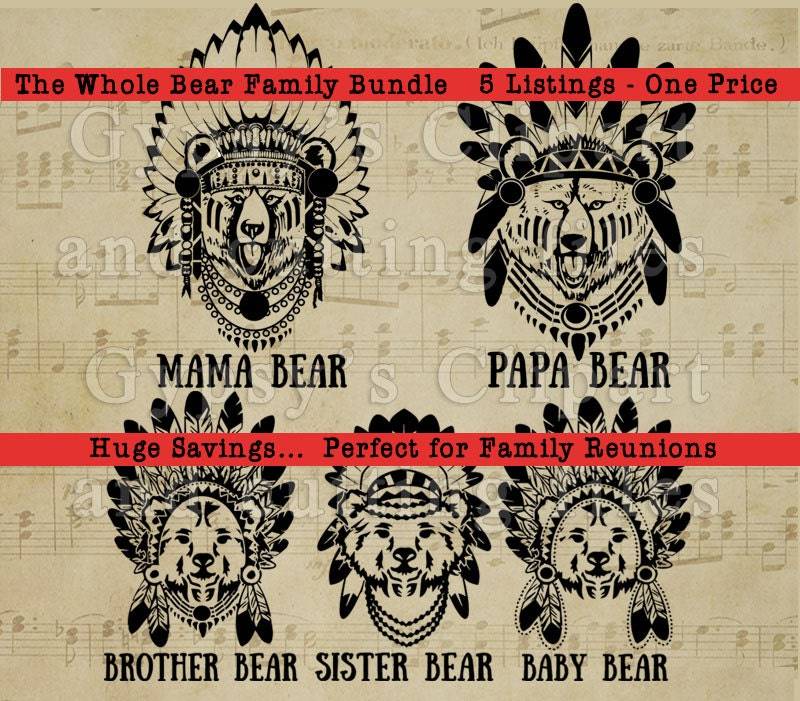 Bear Family Svg Mama Bear Baby Bear Brother Bear