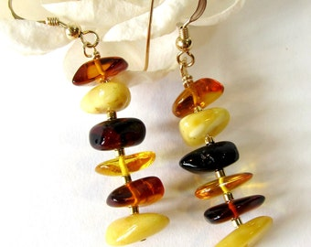 Baltic Amber Earrings with Gold Filled Hooks, Multi-Color Genuine Baltic Amber Chips with Gold Accents, Handmade Gemstone Jewelry