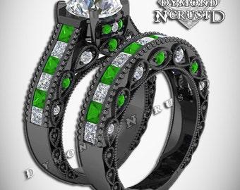 green lantern inspired white green emerald swarovski black rhodium or black gold deluxe engagement bridal - Green Lantern Wedding Ring
