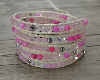 Pink wrap bracelet boho agate bead leather bracelet yoga leather wrap bracelet stack bead bracelet boho wrap bracelet gypsy bracelet SL-0321