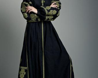 Long black dress. Embroidered dress. Ukrainian embroidery. Boho style. Linen long dress.