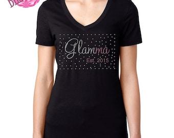 Custom Glamma Shirt, Glamma Gift,  Glamma shirt, Gift for New Grandmother, Grandma Tee, Glam-ma Bling T-Shirt, Mother's Day Gift