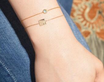 Geburtssteine Armband / Sterling Silber gelb Gold Birthstone Armband / Birthstone Armband / Bracelet personalisiert / personalisierte Geschenk