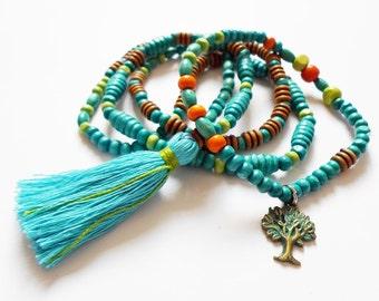 Blue Tassel Necklace, Ankle bracelet, Hippie Yoga necklace, Long Necklace, Summer Beach Necklace, Ethnic Necklace, Boho Wooden Zen necklace